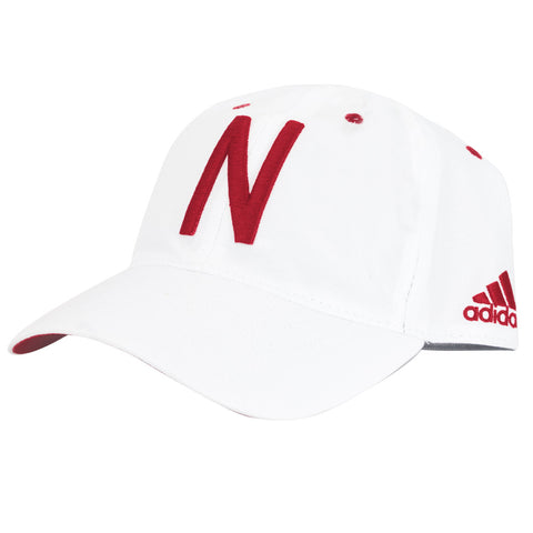 2016 Nebraska Football Coaches Adjustable Slouch Hat by Adidas - White