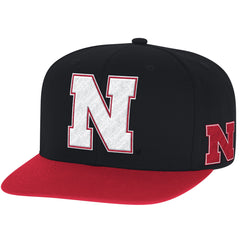 Nebraska Two-Tone Flat Brim Snapback Hat by Adidas - Black