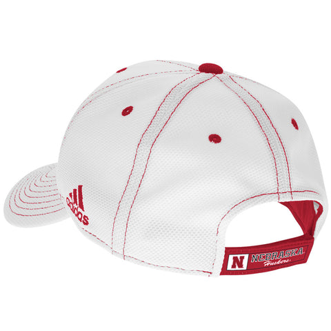 Nebraska Huskers Pique Mesh Structured Adjustable Hat by Adidas - White