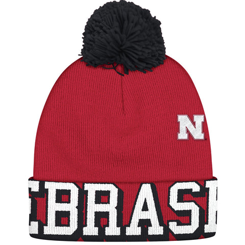 Nebraska Cuffed Knit with Pom by Adidas - Red