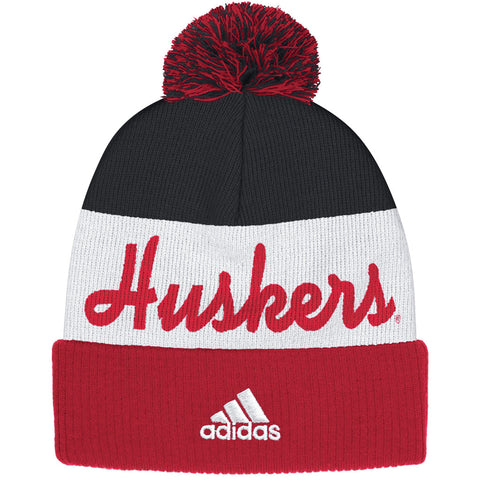 Nebraska Huskers Cuffed Knit with Pom by Adidas - Red