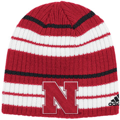 Nebraska Striped Knit Beanie by Adidas
