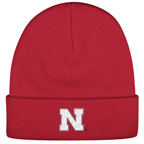 Cuffed Knit Nebraska Beanie by Adidas - Red