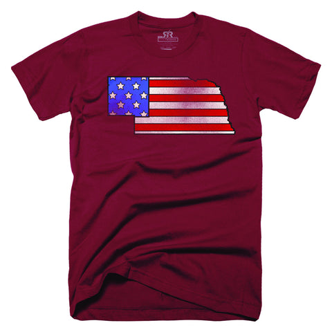 Nebraska State Flag Tee - SS - Red