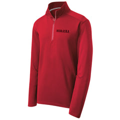 Men's Nebraska Performance Textured 1/4 Zip by RZR - Red - LS