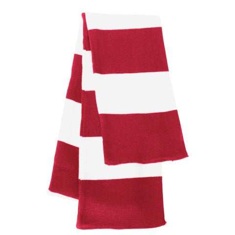 Red & White Striped Team Color Scarf - Red/White