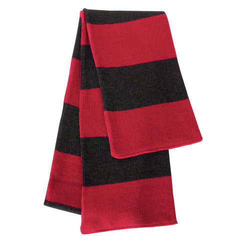 Red & Charcoal Striped Team Color Scarf - Red/Charcoal