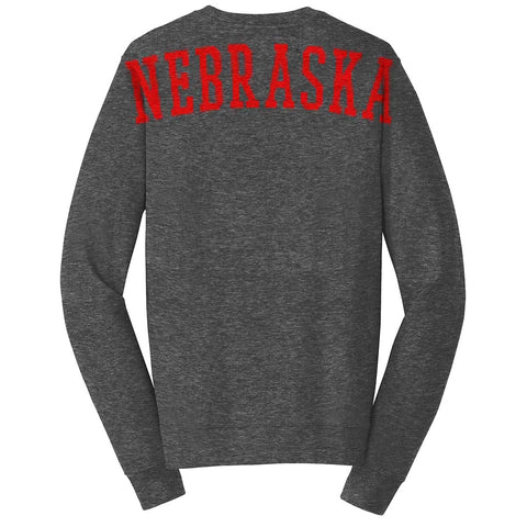 Big Nebraska Ultimate Crewneck Sweatshirt by RZR - LS - Charcoal