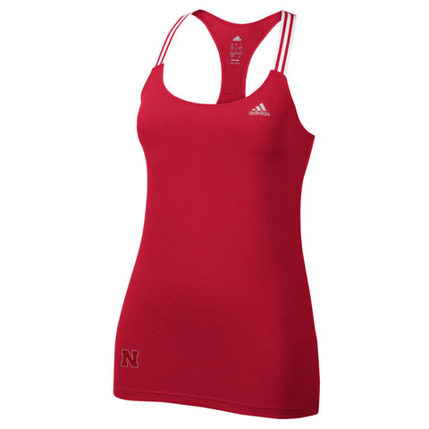 Nebraska Power 3 Stripe Tank by Adidas - Red