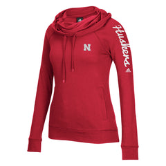 Women's Nebraska Husker Tunnel Neck Hood Tee by Adidas - LS - Red