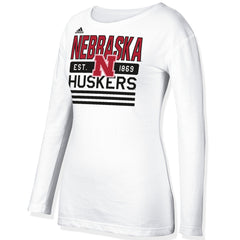 Women's Nebraska Stripe Stack Crew by Adidas - LS - White