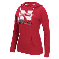 Women's Nebraska Huskers Vertical Hoody by Adidas- Red - LS