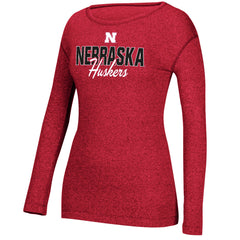 Women's Nebraska Mascot Script Tee by Adidas - LS - Red