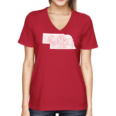 Nebraska is Home V-Neck Tee - SS - Red