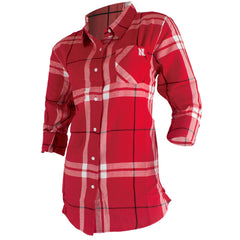 Nebraska Boyfriend Fit Plaid Button Up Shirt - Red - LS
