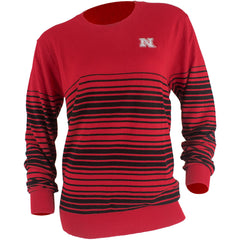 Nebraska Striped Sweater - Red - LS