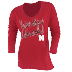 Nebraska Huskers Elbow Patch Tee - Red - LS