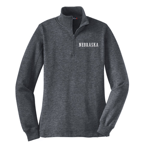 Ladies Nebraska 1/4 Zip Sweatshirt by RZR - LS - Grey