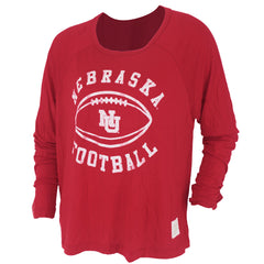 Vintage Nebraska Football Split Back Tee - Red - LS