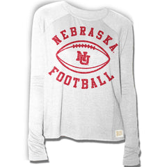 Vintage Nebraska Football Relaxed Raglan - White - LS