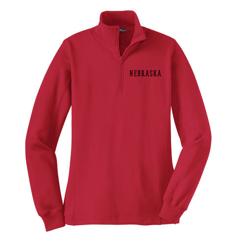 1 LEFT! Ladies Nebraska 1/4 Zip Sweatshirt by RZR - LS - Red