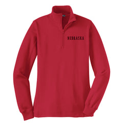 Ladies Nebraska 1/4 Zip Sweatshirt by RZR - LS - Red