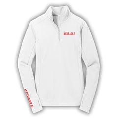 Ladies Nebraska Textured Performance 1/4 Zip by RZR - LS - White