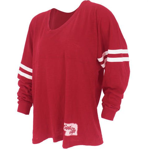 Women's Nebraska Sleeve Stripe Slub Spirit Jersey - Red - LS