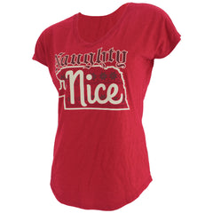 Women's Nebraska Naughty or Nice Tee V-Neck Tee by RZR- SS - Red
