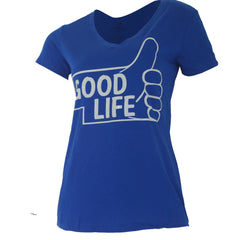 Thumbs Up to the Good Life V-Neck Tee - SS - Blue