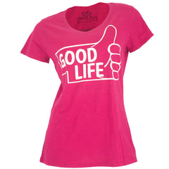 Thumbs Up to the Good Life V-Neck Tee - SS - Fushia