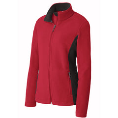 Ladies Team Color Full Zip Fleece Jacket - LS - Red