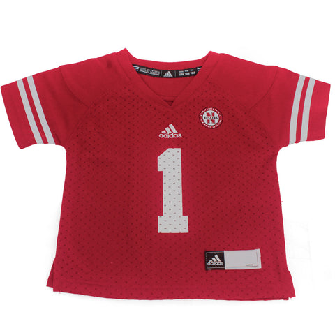 Infant & Toddler #1 Nebraska Huskers Jersey by Adidas - SS - Red 42A6A