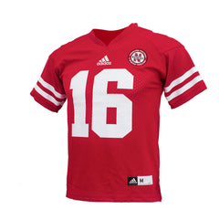 Youth #16 Nebraska Huskers Jersey by Adidas - SS - Red