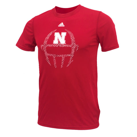 Youth Nebraska Huskers Sideline Helmet Climalite Tee by Adidas - SS - Red