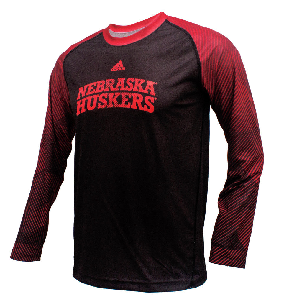 Youth Nebraska Huskers Stealth Climalite Crew by Adidas - LS - Black ... e6726cbd38