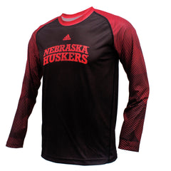 Youth Nebraska Huskers Stealth Climalite Crew by Adidas - LS - Black