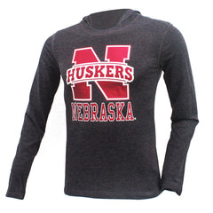 Girls Huskers Hooded Tee by Adidas - Grey - LS