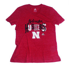 1 LEFT! Girls Nebraska Husker Tri-Blend Tee by Adidas - Red - SS