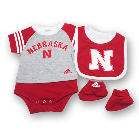 Nebraska Husker Little Kicker Creeper, Bib & Bootie Set