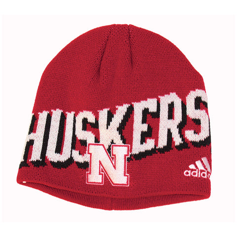 1 LEFT! Youth Huskers Knit Beanie by Adidas - Red