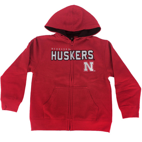 Youth Nebraska Huskers Stated Full Zip Hoody - Red - LS