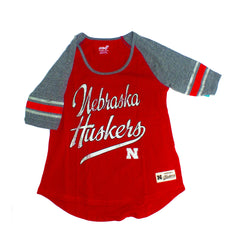 Girls Huskers Tri-Blend Raglan Football Tee by Adidas - Red- SS