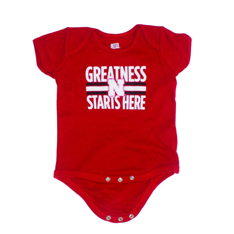 Nebraska Greatness Starts Here Newborn & Infant Creeper - Red