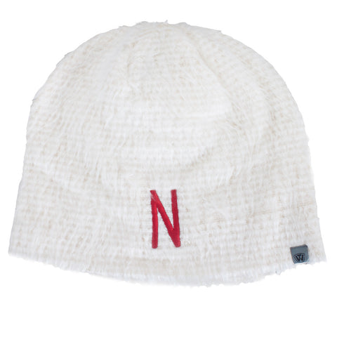 Youth Girls Fluffy Monster Nebraska Hat - Cream