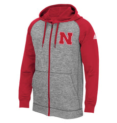 Nebraska Climawarm Full Zip Grey & Red Hoodie by Adidas