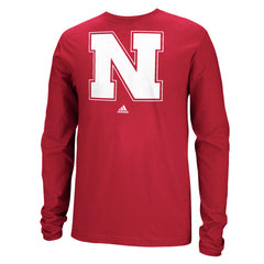 Nebraska Long Sleeve Tee by Adidas - Red- LS