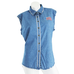 American Flag Sleeveless Denim Top - Blue
