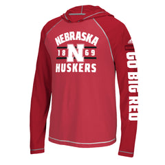 Youth Nebraska L/S Hooded Tee with GO BIG RED on the Sleeve by Adidas-Red