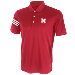 3-Stripe Nebraska Polo by Adidas-SS-Red